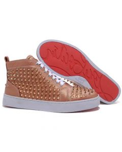 CHRISTIAN LOUBOUTIN LOUIS GOLD SPIKES HIGH TOP BASKETS TAUPE
