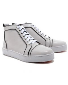 CHRISTIAN LOUBOUTIN LOUIS JEWELED HIGH TOP BASKETS BLANC